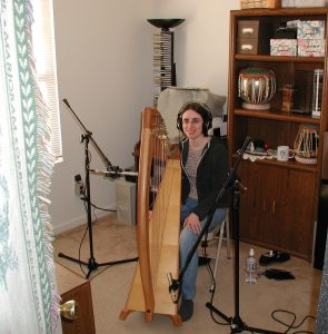 harp in studio